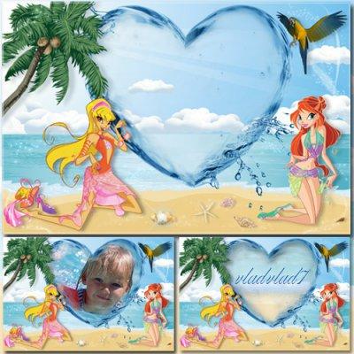 Детская рамка для фотошопа - Винкс на пляже PSD 4500х3000 300 dpi 53,3...
