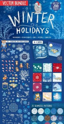 Winter holidays vector bundle