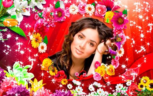 Красивая рамочка - Яркие цветы