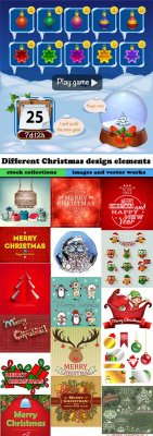 Different Christmas design elements