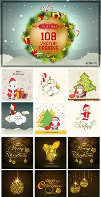 108 Elegant Christmas Vector Bundle